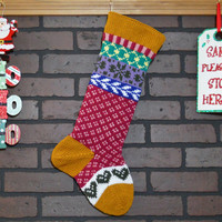 Personalized Christmas Stocking in Gold with hearts, Hand Knit Christmas Stocking, Fair Isle Christmas Stocking