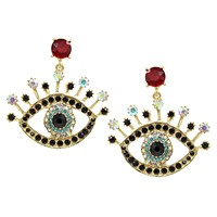 Evil Eye Crystal Earrings in Fuchsia