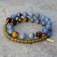 Tranquility and Prosperity, kyanite and tiger's eye 27 bead wrap bracelet™