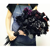 Pack of 20- Long stem black rose with glitter trim centerpiece bouquet home wall decor