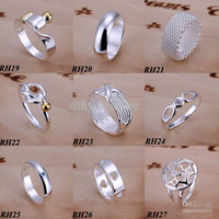 50Pcs/lot Fashion Rings Jewelry 925 Sterling Silver Mix Styles Vintage Fashion Vogue Rings Nice Gift Size 7,8,9