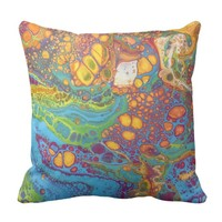 Colorful Acrylic Paint Pour Abstract Design Throw Pillow