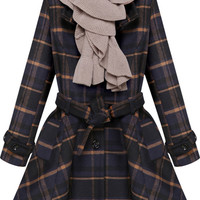Check Print Belted Flare Coat