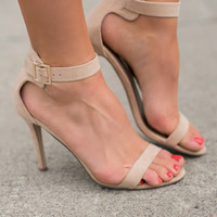 In The Name Of Love Ankle Strap Suede Stiletto Heel (Natural)