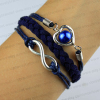 Ancient silver, navy, wax rope and woven leather, infinity, heart-shaped bracelet, pearl bracelet, bridesmaid, PROM presents