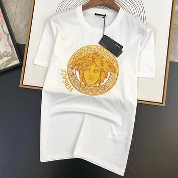 Versace summer new embroidered letters round neck short-sleeved T-shirt