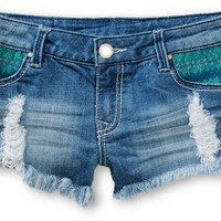Empyre Mint Embroidered Medium Wash Destroyed Denim Shorts