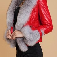 Red Patchwork Faux Fur Long Sleeve Jacket Coat