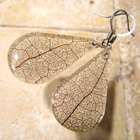 Skeleton Leaf Earrings, Salal (Gaultheria shallon), Leaf Jewelry, Plant Jewellery, rustic, woodland, nature