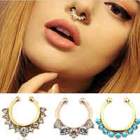 2pcs Cute Small Fake Rhinestone Nose Ring, Tribal Silver Faux Septum Piercing = 6024945287