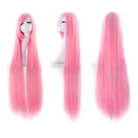 """MapofBeauty 40"""" 100cm Light Pink Long Straight Cosplay Costume Wig Fashion Party Wig"""