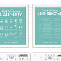 SET 'The Laundry and Stain Removal' Mid Century Modern - Guide, Procedures, Room, Retro, Sign, Mid-Century, Stains, Decor, Art