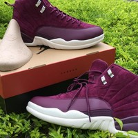 2018 Bordeaux Dark Grey new air retro 12 basketball shoes cheap high quality man sport shoes discount outdoor shoes fashion wine red color