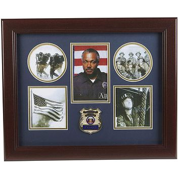 The Military Gift Store Frame Police Department Medallion 5-Picture Collage Frame.
