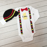 Red and Black Baby Boys 1st Birthday Outfit With Tie and Suspenders