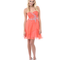 Coral Gem & Sequin Ruched Sweetheart Strapless Short Dress
