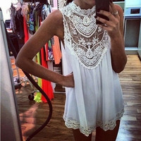 Women's Sexy Style Lace Neck Sleeveless Hollow-out Ladies Party Evening Dress(White,BlackSize S-4XL) = 1946554244