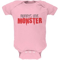 Mommy's Little Monster Light Pink Soft Baby One Piece
