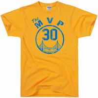 Mens Retro Inspired Golden State Warriors Steph Stephan Curry #30 MVP NBA Graphic Tee T Shirt
