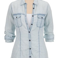 lightweight drape button down denim shirt
