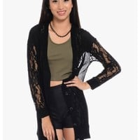 Black Lacey Button Up Long Sleeve Lace Cardigan | $10 | Cheap Trendy Cardigans Chic Discount Fashio