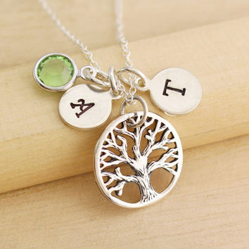 Personalized Tree of Life Necklace - Initial Necklace - Birthstone Necklace - Mother's Necklace - Family Tree Necklace - Rustic Tree of Life