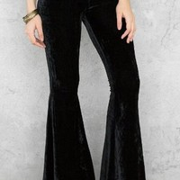 Lucky Duck Black Velvet Bell Bottom Lounge Pants