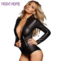 Black PU Leather Bodysuit Women Jumpsuit Long Sleeve Zip Detail Rompers Womens Jumpsuits Playsuit Sexy Overalls for Women