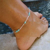 Gift Shiny Cute New Arrival Sexy Stylish Jewelry Turquoise Handcrafts Ladies Anklet [6768794183]
