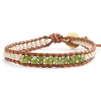 Cream Mix Paper Bead Single Wrap Bracelet on Natural Brown Leather - Chan Luu