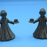 Italy Angel Candlestick Holders Set of 2 Vintage Silver Plate Christmas Angel Taper Holders Made in Italy International Silver Company