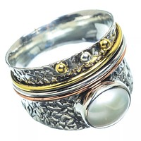 Pearl Three Tone Sterling Silver Regal Spinner Ring