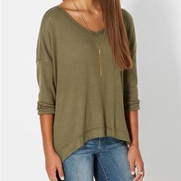 Dark Olive Inside-Out Thermal Knit Top