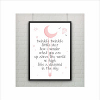 Twinkle Little Star Lullaby Print / Song / Poem / Art Illustration / US Letter-A4 up to A0 size / Wall Art / Girls Kids Room Decor / Nursery