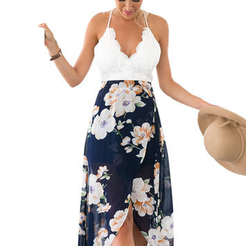 Backless Floral Print Chiffon Dress Patchwork Lace V Neck Open Back High Low Beach Summer Girls Casual Long Maxi High low Dress