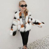 Girls Autumn Winter Faux Fur Coat Jacket for Kids Thick Warm Outwear Clothes Fashion Children Clothing New Year Clothes For Kids