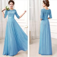Blue Crochet Embroidered Half Sleeve A-Line Pleated Maxi Dress