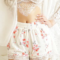 Melody Lace Trim Floral Shorts