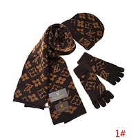 Louis Vuitton LV Trending Unisex Stylish Monogram Pattern Warm Knit Hat Cap Scarf Gloves Set Three Piece 1# I-AJIN-BCYJSH