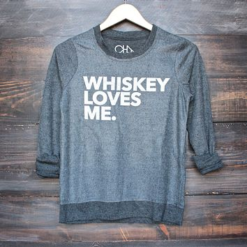 Final Sale - Chaser - Whiskey Loves Me Sweatshirt in Black