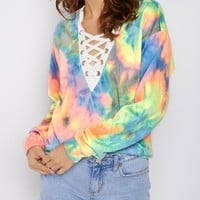 Rainbow Tie Dye Lace-Up Sweatshirt | Sweatshirts | rue21