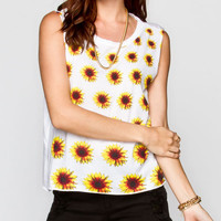 Full Tilt Sunflower Womens Muscle Tank White  In Sizes