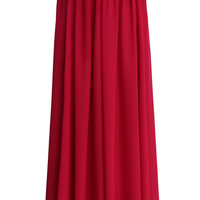 Wine Red  Pleated Maxi Skirt   Red