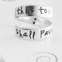 This too shall pass semicolon inside hand stamped aluminum spiral  ring
