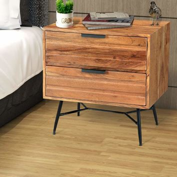 2 Drawer Wooden Nightstand with Metal Angled Legs, Black and Brown By The Urban Port