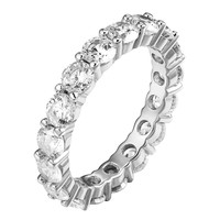 Sterling Silver Eternity Ring Wedding Band Solitaire Simulated Diamond Unique