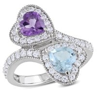 2 1/2 CT TGW Amethyst Blue Topaz - Sky Created White Sapphire Fashion Ring  Silver