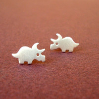 Dinosaur Earrings Halloween Studs Triceratops Sterling Silver Teen Kids Gift Jewelry Girl Woman Post Earrings mom Halloween Jewelry