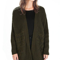Dark Green Long Sleeve Open Front Cardigan