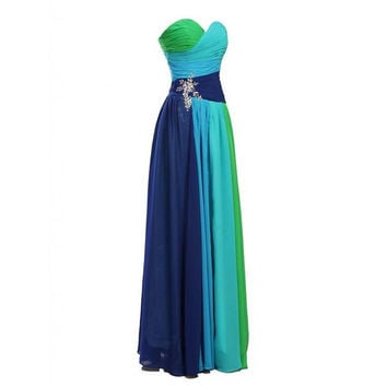 Multi Colored Prom Dress Evening Party Gown pst0471